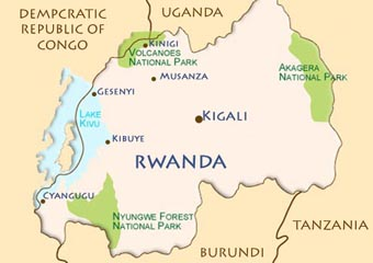 Map of Rwanda volcano National Park in the north